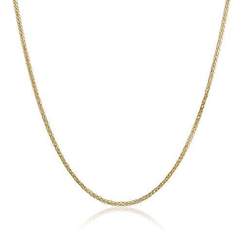 Collana in oro giallo 18 K/750, taglio a diamante spiga di grano, larghezza 1,20 mm, lunghezza a scelta e Oro giallo, colore: oro giallo, cod. Spiga-18-G1