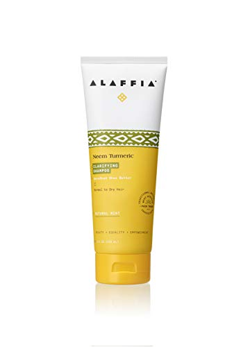 Alaffia Neem Turmeric Balancing Shampoo, Gently Cleans and Helps Fortify Hair while Moisturizing the Scalp with Shea Butter, Tea Tree, and Rosemary, Fair Trade, Balancing Neem, 8 Ounces