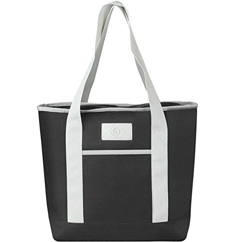 Good Gain Insulated Cooler Tote Bag with Zipper for Women, Picnic Reusable Canvas Lunch Bag Carrier Keep Foods Cold or Hot Food Drinks, Outdoor Shopping Beach Market Tote Black