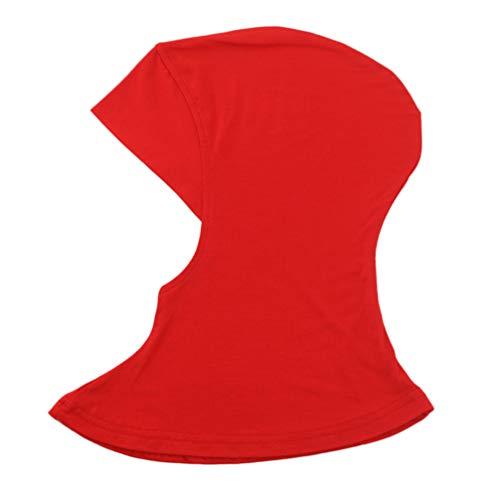 KESYOO boné feminino muçulmano sob o cachecol Hijab, cor lisa, ajustável, islâmico, cabeça para usar na cabeça (Preto), Vermelho, 35X24cm