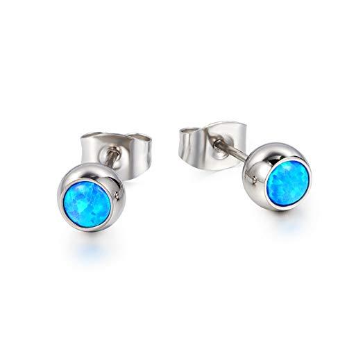 TGNEL Hypoallergenic Titanium Earring for Women Girl Round Cut Cubic Zirconia Blue Opal Bezel Stud Earrings