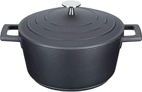 zyh Cocotte légère de 2,5 litres / 20 cm avec Couvercle,Fonte d'aluminium,Noir,Casserole en céramique,Petit Pot en Pierre