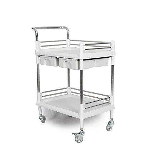 XUSHEN-HU Carro-cama doble carro de la herramienta de la compra Laboratorio carro multi-capa de logística de almacén de herramientas de coches Oficina práctico estante (Tamaño: 64 * 44 * 90 cm) Cocina