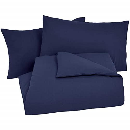 Amazon Basics - Juego de cama de franela con funda nórdica - 230 x 220 cm/50 x 80 cm x 2, Azul marino