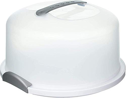 """X-Large Cake Carrier Server with Carry Handle and Locking Cover Dome for 12"""" Round Cake. Clear lid and white base. MADE IN USA"""