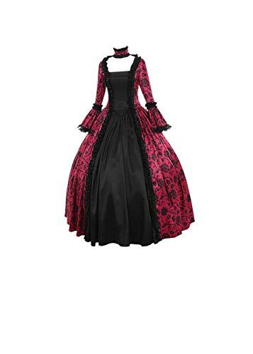 Yumso Femmes Automne Hiver Gothique RéTro Floral Imprimé Robes De Bal Costume Robes Imprimée Halloween Party Déguisement Vampire Dress Gothique à Manches Longues à Capuche Adulte Cosplay