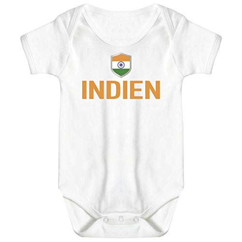 FanShirts4u Länder Baby Body - INDIEN INDIA - inkl. Druck Name & Nummer WM Trikot (0-3 Monate, Weiß-Orange/INDIEN)