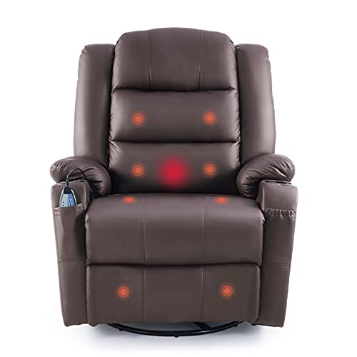 VONLUCE Leather Massaging Recliner Chair, Ergonomic Lounge Chair for...