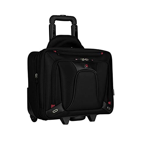 Wenger 600664 TRANSFER 16 Inch Expandable Wheeled Laptop Briefcase, Padded laptop compartment with iPad/Tablet/eReader Pocket in Black {20 Litre}