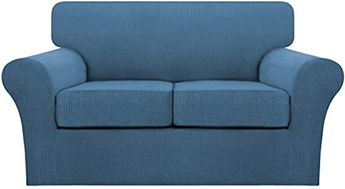 LINFKY Funda De Sofá Funda De Sofá De Alta Elasticidad con Cojines Separados Fundas De Sofá (Funda De Base Más Funda De Cojín) Tela De Jacquard De Spandex De Cuadros (Dusty Blue,2 plazas (145-182cm))