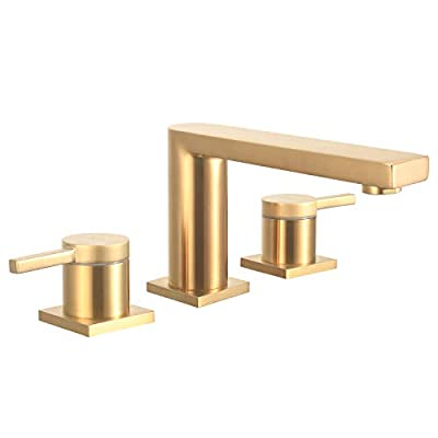 Brass Bathroom Vanity Sink Faucet 2 Handle 3 Hole Basin Widespread Deck Mount Brushed Gold