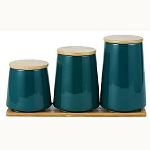 SKREOJF Tarras de Botella de Almacenamiento de cerámica de Estilo nórdico para Especias Latas de Tapa de Madera Cocina Coffee Tea Caramelo Cane Caña de latas de Almacenamiento (Size : 3 pcs)