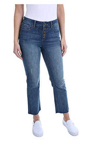 Kenneth Cole Ladies Button Fly High Rise Straight Leg Comfort Stretch Jean...