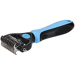Nidawi Dog Brush Pet Dematting Grooming Comb Undercoat Rake Deshedding Tool for Long Coats Dogs & Cats