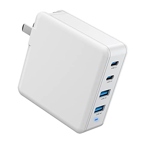 100W Gan Fast Charger, Easylonger 4-Port USB C Charger with PPS, 2 USB-C PD 3.0 & 2 USB-A QC 3.0 Ports Foldable PD Charger for USB-C Laptop, MacBook Pro/Air, iPad Pro, iPhone, Samsung and More