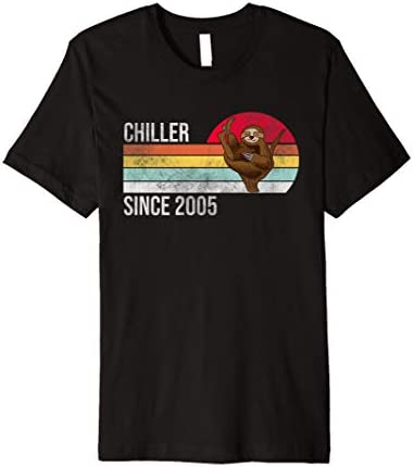 16th Birthday Gift Themed Chiller Since 2005 Funny Cut Sloth Premium T Shirt product image
