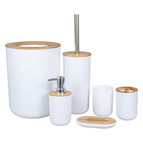 Jcevium Set di 6 accessori da bagno in bambù ecologico con dispenser per lozioni Etc.-WEII