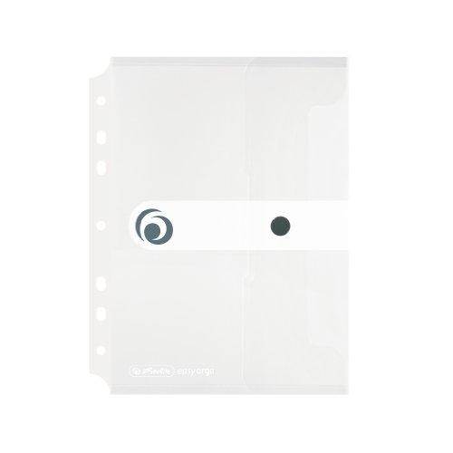 Herlitz 11293818 Dokumententasche A5 zum Abheften, Polypropylen-Folie, 6-er Packung, mit Druckknopfverschluss, Transparent farblos