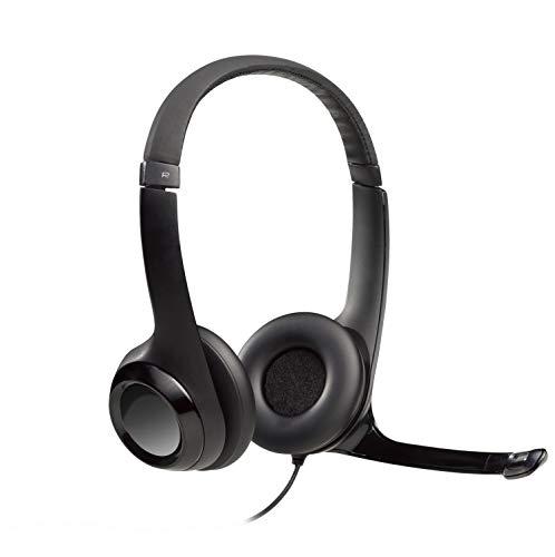 Logitech H390 Auriculares con Cable, Sonido Estéreo y Micrófono USB con Supresión de Ruido, Controles Integrados en el Cable, PC/Mac/Portátil