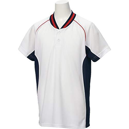 アシックス(asics) 野球 ウェア ジュニア ベースボール シャツ 半袖 2ボタン BAD20J 140サイズ ホワイト/ネイビー BAD20J ホワイト/ネイビー 140