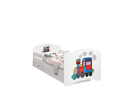 Happy Babies - Doppelseitiges Kinderbett MIT SCHUBLADE Modernes Design mit sicheren Kanten und Absturzsicherung Schaumstoffmatratze 7 cm. (180x90, 20. Zug)