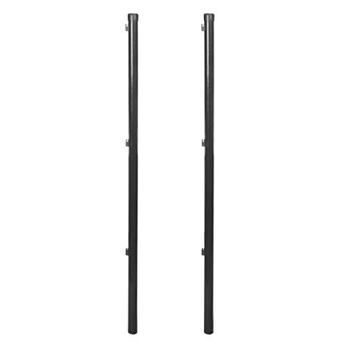 vidaXL 2X Zaunpfosten für Maschendrahtzaun 150cm Grau Stahl Zaunpfahl Pfosten