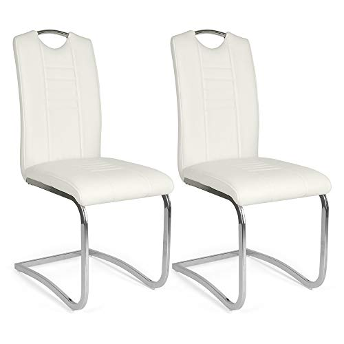 Mingone Morden PU Leder Esszimmerstühle Set mit 2 Küchenstühlen mit hoher Rückenlehne Edelstahl Metallbeine, Weiß