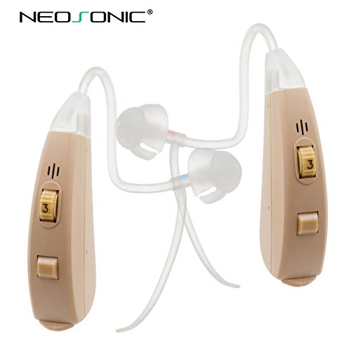 Neosonic Hearing Amplifier EZ to Aid and Assist Hearing, Easy Handling with a Unique Volume Control Wheel, Digital Sound Amplifier PSAP Device for Adults and Seniors (Beige-Pair)
