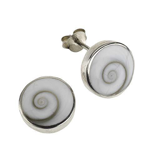Zeeme Pearls Damen Ohrstecker 925/- Sterling Silber 1,5cm Glänzend Muschel weiß 342220049