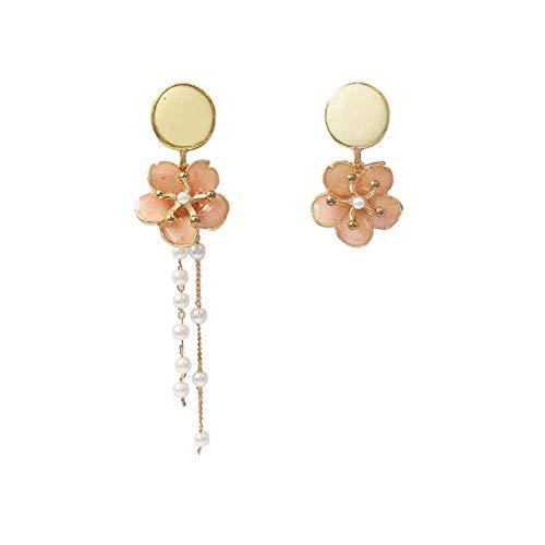 ZLININ Y-Longhair Caída asimétrica Flor de Hadas Perlas de Cristal Femenina Personalidad Pendientes Borla Marea