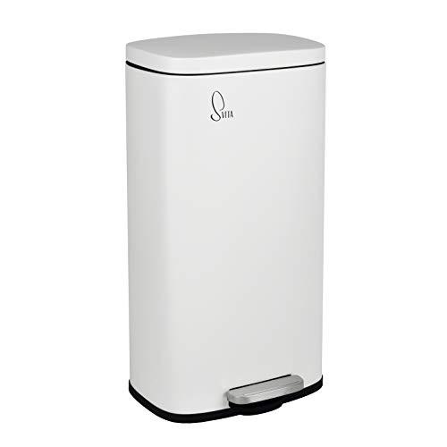 SVITA Mülleimer TQ30 weiß 30L Treteimer Edelstahl Abfallbehälter Müllsammler mit Pedal Edelstahl Softclose Deckel mit Inneneimer Küchen-Eimer
