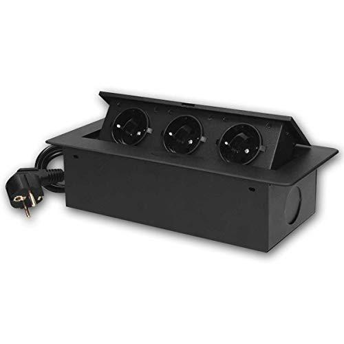 world-trading-net - Toma de corriente empotrada de sobremesa 3-fold, cable, negro, 2500W, toma de corriente de suelo, retráctil, con cableado