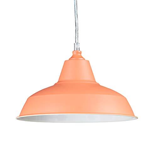 Relaxdays Techo Industrial, Lámpara Colgante, Un Foco, 112 x 28 x 28 cm, Naranja