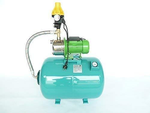 Huiswaterpomp 100 liter membraanketel met manometer incl. tuinpomp centrifugaalpomp JY1000 INOX robuuste, roestvrijstalen as en roestvrijstalen schepwielen, vermogen 1100 watt, spanning 230 V/50 Hz, capaciteit 3600 l/h, opvoerhoogte 45 m, geïntegreerde thermische motorbeschermingsschakelaar + intelligente pompbesturing EPC-3 voor het automatiseren van de watervoorziening met droogloopbeveiliging.