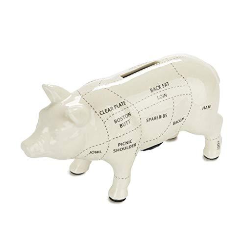 Balvi Hucha Cuts of Pork Color Blanca Hucha Cerdito 20 cm Diseño Cerdo carnicería Gran Capacidad Hucha para Ahorrar Dinero Ideal para Regalar Cerámica 11x20x7 cm