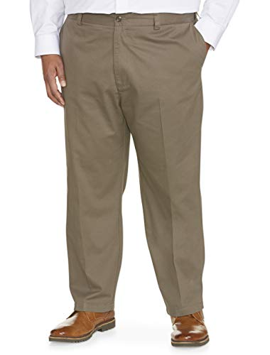 Amazon Essentials Men's Big & Tall Loose-fit Wrinkle-Resistant Flat-Front Chino Pant fit by DXL, Taupe, 46W x 30L