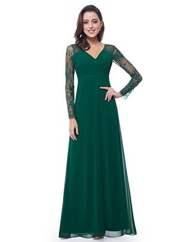 Ever-Pretty Robe de Soirée Robe de cérémonie Maxi Élégante V Col Manches Longue 36 Vert Foncé