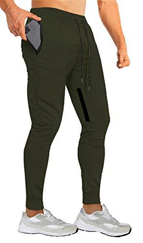 Yidarton Jogginghose Herren Baumwolle Sporthose Slim Fit Trainingshose mit Elastischem Bund und Reißverschlusstaschen (Armeegrün,Large)