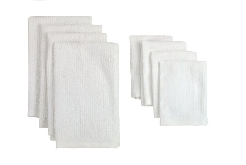 DII COS31270 Cotton Bar Mop Cleaning Dish Towels, Machine Washable, Absorbent, Everyday Kitchen Basic and Lint-Free 16x19 and Dishcloths 12x12, White
