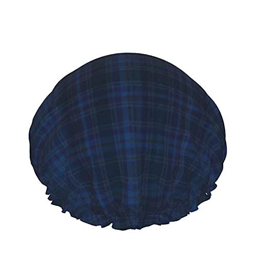 Gorro De Ducha De Diversos Colores De Los Gráficos De La Tela Escocesa De Tartán Azul Reutilizables Baño Sombrero De Pelo, Elástica Reutilizables De Baño Sombreros Para Mujer Impermeable & Ajustable