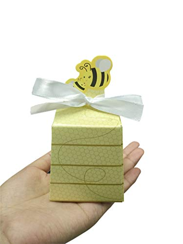 Prudance 50pcs Paper Honey Bee Candy Box with Ribbons Treat Beehive Gift Box for Baby Shower Birthday Wedding BeeDay Party Decorations Yellow