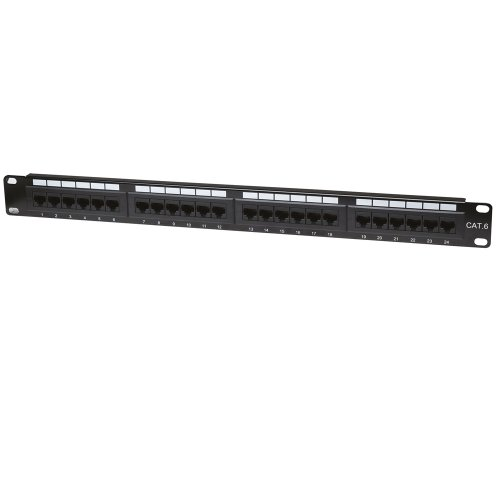 Intellinet 520959 Panel de parcheo 1U - Bahía de Entrada (10Base-T, 100Base-TX, 1000Base-T, Gigabit Ethernet, RJ-45, Cat6, U/UTP (UTP), Negro)