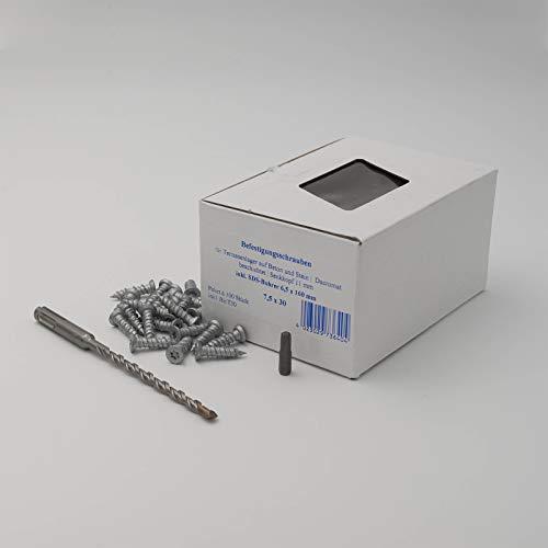 HORI® Befestigungsschrauben 7,5 x 30 mm Torx 30 Schrauben I für Stelzlager Stelzfüße I 100 Stück I 1 Paket
