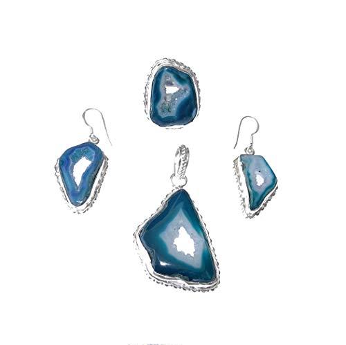 Artesanal - Juego de joyas con colgante, pendientes y anillo para mujeres y niñas, plata de ley combinadas con piedras preciosas de ágata verde