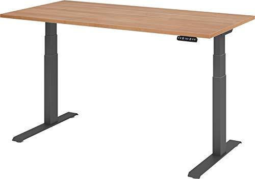 bümö® Sitz & Steh Schreibtisch elektrisch höhenverstellbar mit Memoryfunktion (Tischplatte: Nussbaum | Gestell: Graphit, 160 x 80 cm)
