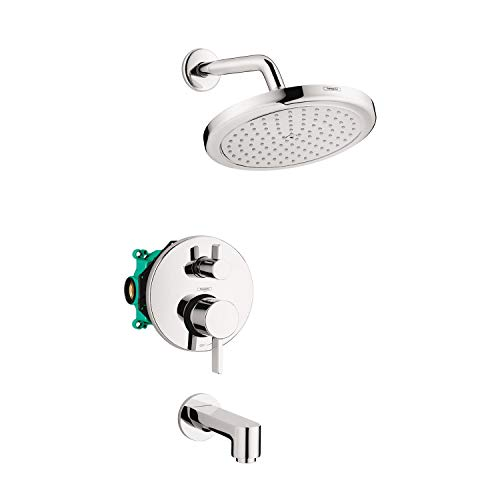 hansgrohe Croma Complete Shower and Bathtub System Shower Set Modern 1Spray Easy Control in Chrome Rough and Shower Valve Included 2 GPM 04908000