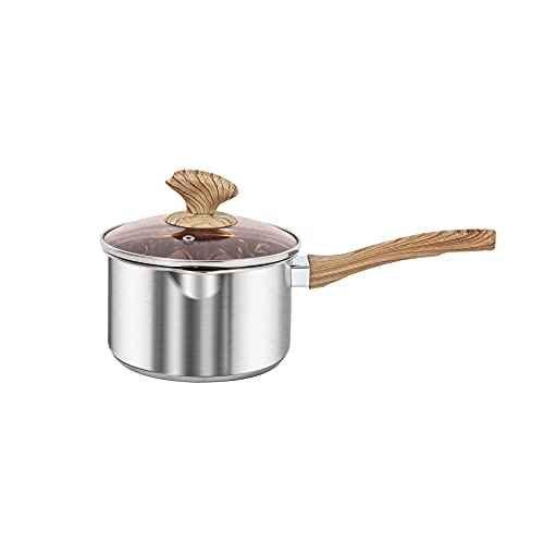 VENTION Thick-bottomed Stainless Steel Saucepan, Food Grade Saucepan with Pour Spout, Metal Pan with Cover, Support for Stove and Induction, Suitable...