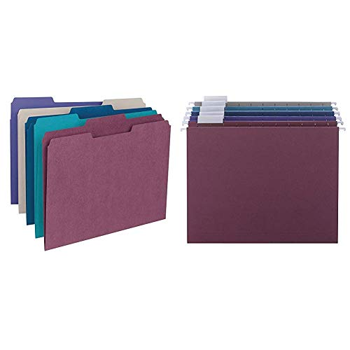 Smead File Folder, 1/3-Cut Tab, Letter Size, Assorted Colors, 100 per Box, (11948) & Hanging File Folder with Tab, 1/5-Cut Adjustable Tab, Letter Size, Assorted Jewel Tone Colors, 25 per Box (64056)
