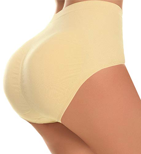 CeesyJuly Womens Butt Shaper Tummy Slim Firm Control Panties with Removable Pads Nude