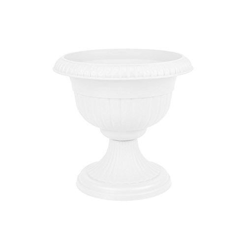Pot de Fleur en Plastique Roma avec Soutien, ht. 27.5 cm, en Blanc